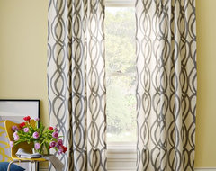 Scribble Window Panel, Feather Gray contemporary-curtains