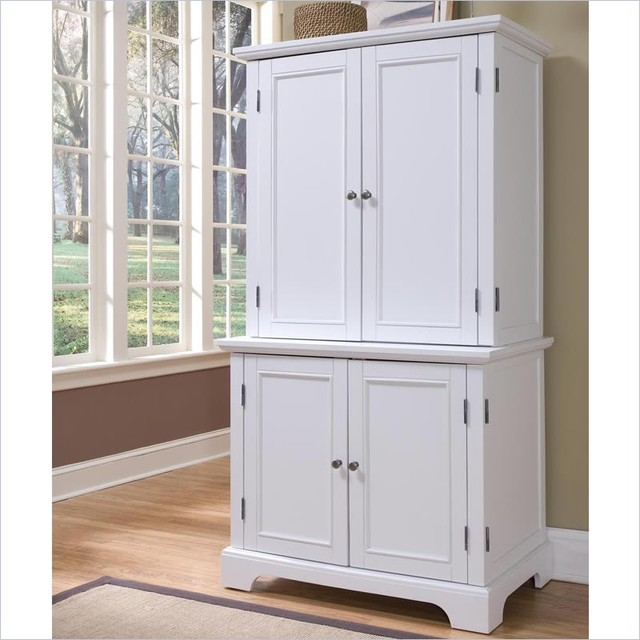 Home styles naples compact computer desk and hutch in white transitional bookcases cabinets - Hutch style computer desk ...