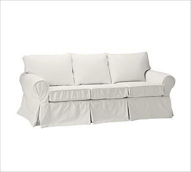 PB Basic Sofa, Down-Blend Wrap Cushions, Twill White traditional-sofas