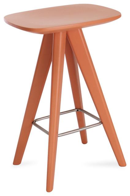 Petite White Counter Stool Orange Contemporary Bar