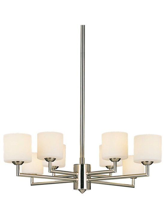 "George Kovacs - George Kovacs 8-Light Brushed Nickel 22"" Wide Chandelier - An updated take on the classic chandelier by designer George Kovacs This contemporary design is anything but ordinary. Features a brushed nickel finished frame and six fixtures outfitted with cased etched opal glass. Give your dining room or entry warm modern splendor. Brushed nickel finish. Cased etched opal glass. Includes eight 50 watt halogen bulbs. 51 1/2"" high. 22"" wide.  Brushed nickel finish.   Cased etched opal glass.   Design by George Kovacs.  Includes eight 50 watt halogen bulbs.   51 1/2"" high.   22"" wide."