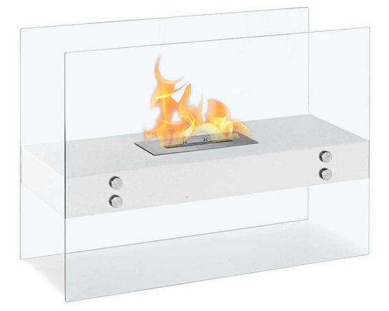 Moda Flame - Avila Contemporary Indoor Outdoor Ethanol Fireplace - White - The Avila modern fireplace is comprised of a steel shelf, sitting comfortably on two vertically mounted glass walls. Perfect for any indoor or outdoor setting.