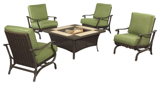 Pembrey 5 piece patio fire pit set with moss cushions for Outdoor furniture austin