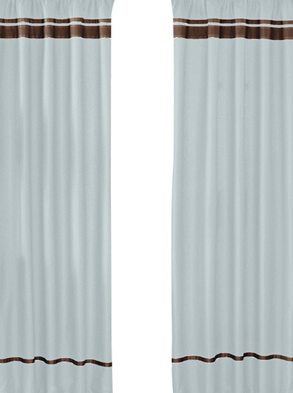 Hotel Blue and Brown Window Panels (Set of 2) contemporary-curtains