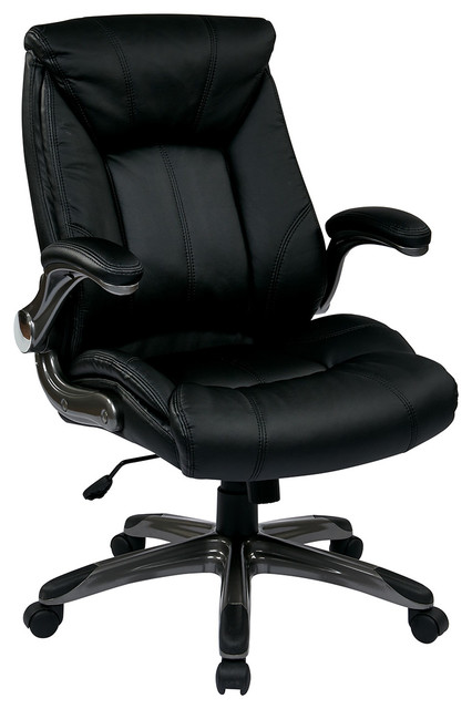 Office Star Faux Leather Mid Back Managers Chair With Padded Flip Arms Trad