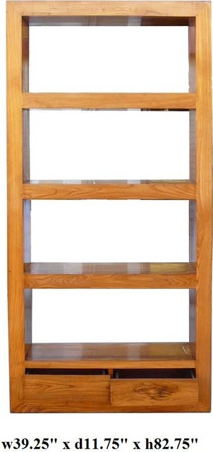 Natural Wood Orient Fusion Display Book-Shelf Cabinet ...