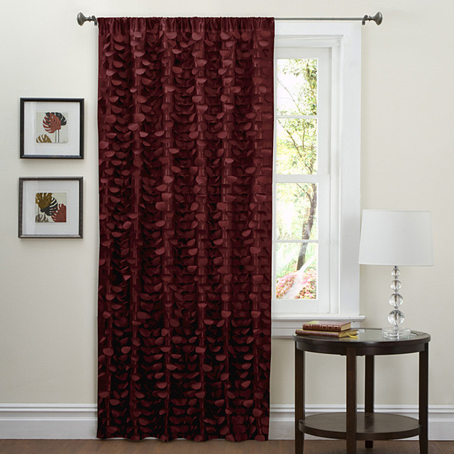 Lush Decor Red 84 inch Lilian Curtain Panel  Contemporary  Curtains