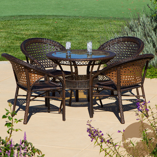Outdoor 5 Piece Wicker Dining Bistro Table Set Contemporary Dining