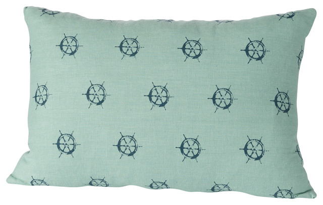 Small Beach Throw Pillows : Montauk Wheels Small Pillow, Aqua/Navy beach-style-decorative-pillows
