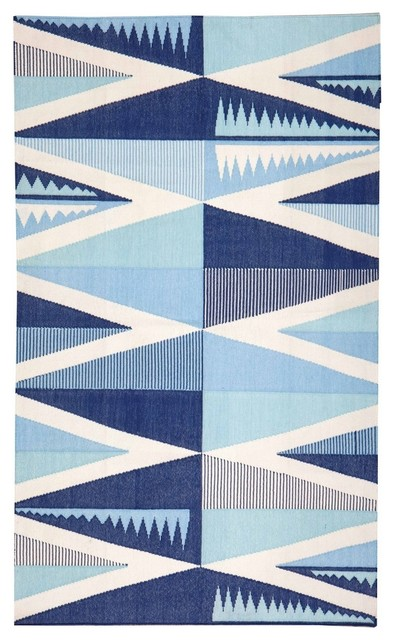 Backgammon Dhurrie, Washed Denim eclectic-area-rugs