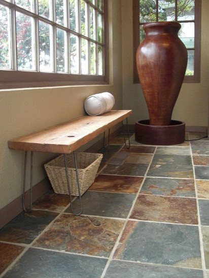 Modern Reclaimed Rustic Wood Plank Bench by The Zen Artist modern-benches