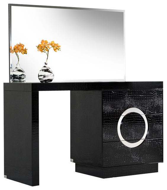 A X Ovidius Modern Black Crocodile Vanity Table Mirror Modern B
