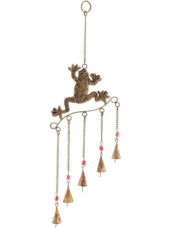 Benzara - Frog Wind Chime with Copper Finished Design - Introduce your nature back into your life and enhance your garden with the soothing sounds of this metal frog wind chime. This metal frog wind chime will add a touch of romance and beauty to the decor. This copper finished metal frog wind chime will make a wonderful gift as well. With colorful beads and fun movement this wind chime can be easily placed in any outdoor space. The lovely sounds of the soothing chimes through the gentle breeze will create a musical ambience. This beautiful piece of garden art is a delightful decorative accent to any home or yard. This wind chime is a beautiful piece of garden art. With its striking appeal, this piece easily acts as a conversation starter.