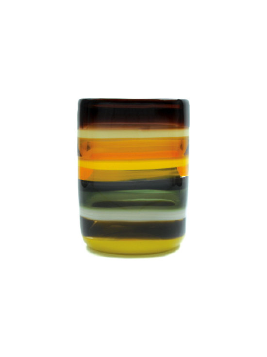 Caleb Siemon Mustard Banded Square Vase - Inspired by the rich hues and topography of Southern California, alternating layers of opaque and transparent colors are applied to clear glass. New colors are formed by overlaps, adding depth to the pieces. Simple shapes compliment intense colors. Hand blown and shaped in lead free crystal. Designed by Caleb Siemon. Made in California. Signed.