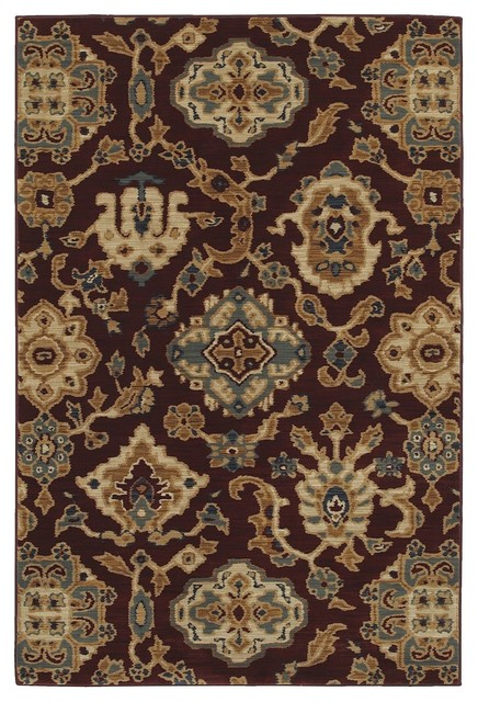 "Transitional Georgetown 9'6""x12'11"" Rectangle Brick-Blue Area Rug transitional-rugs"