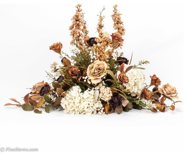 Custom brown and cream silk floral arrangement