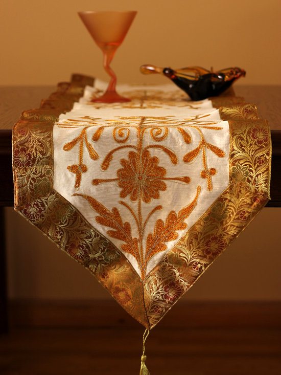 Elegant Table Runners - Hand crafted Indian design. Golden Amber color. Indian made. Great decor for any table top. Orange Beige Gold