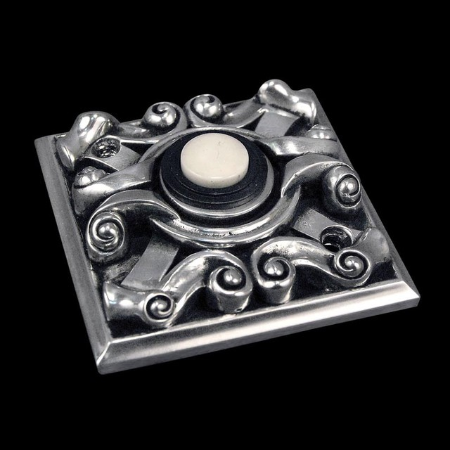 Sforza, Pewter Doorbell, Square traditional-outdoor-decor