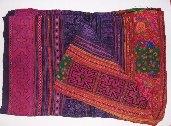 Hmong Hilltribe patchwork and embroidered throw eclectic-quilts-and-quilt-sets