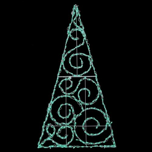 72 in. Outdoor LED Green Scroll Tree Lighted Display - 280 Bulbs contemporary-outdoor-holiday-decorations