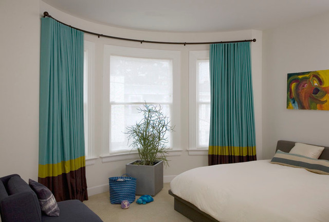 Bow, Curved and Bay Window Coverings Solutions contemporary-curtains