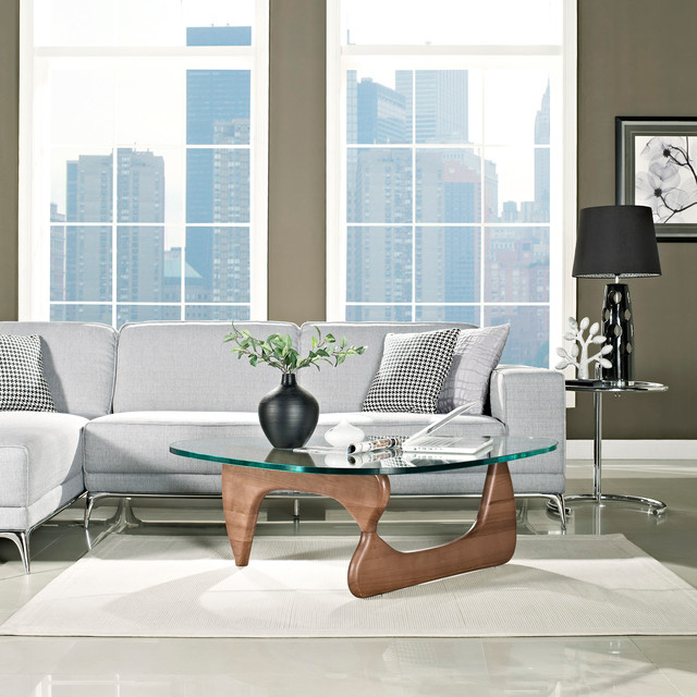 Modern Walnut Wood And Triangle Glass Noguchi Inspired Coffee Table Modern Coffee Tables