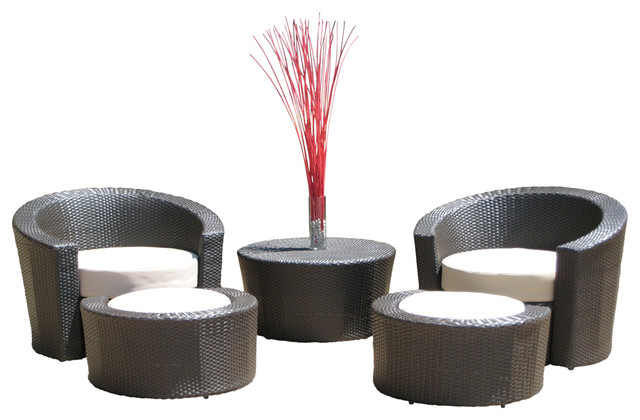 Outdoor Wicker Resin All Weather 5 Piece Lounge Chair and Ottoman Set Conte