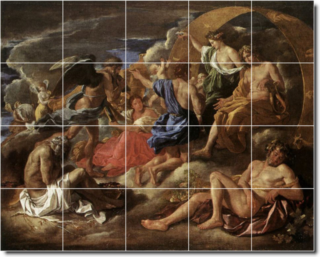 Helios And Phaeton With Saturn And The Four Seasons Tile Mural By Nich traditional-tile