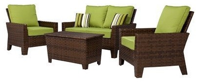 belmont 4 piece brown wicker patio thick woven