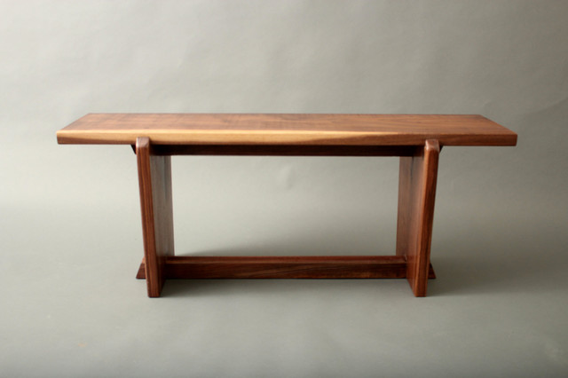 Japanese style gallery entry walnut bench metropolitan