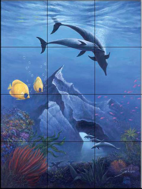 Tile mural sb dolphin mountain kitchen backsplash for Dolphin tile mural