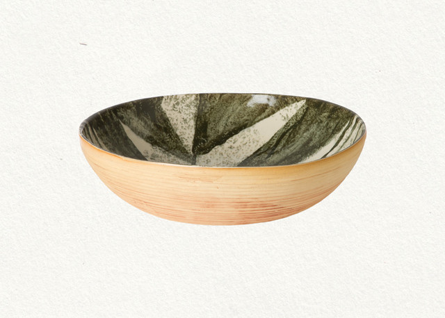 contemporary serveware Botanical Stoneware Serving Bowl