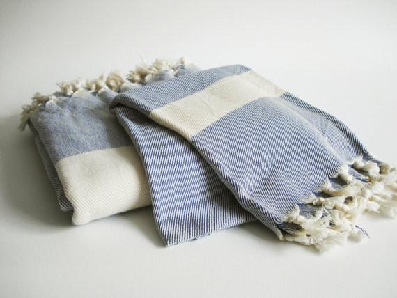 Turkish Bath Towel Peshtemal And Peshkir Set, Soft Navy Blue By Bath Style eclectic-bath-towels