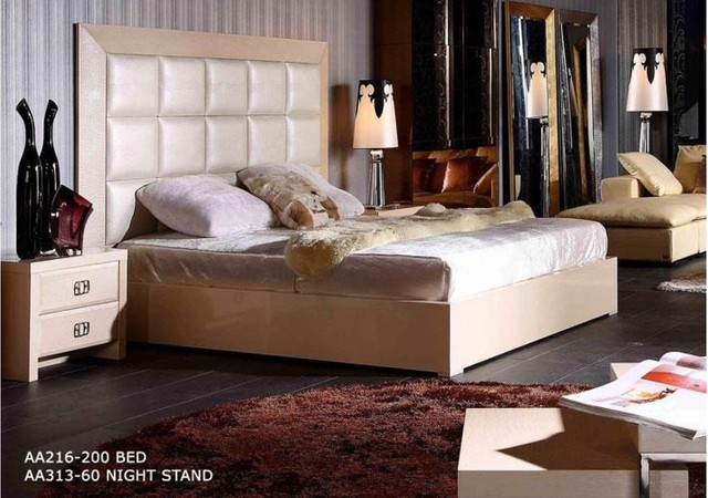 Luxury Platform Bed in Champaign Crocodile Leather modern-beds