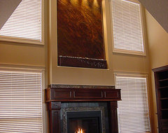 Wall Water Fountain Above Fireplace craftsman-living-room