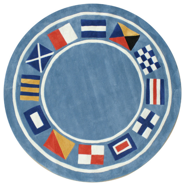 Nautical Flags Rug In Light Blue Modern Rugs By