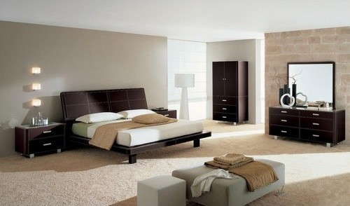 Crono Bedroom Set in Leather Brown modern-beds