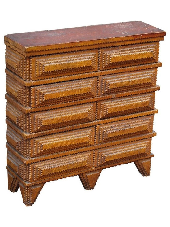 Eco Friendly Furnture and Lighting - American circa 1900 An excellent tramp art chest in its original ochre painted finish, with 8 drawers and an unusual proportion. The drawers are made of cigar boxes with original labels from Pennsylvania, Ohio and Milwaukee, Wisconson; and because of the dimensions of the boxes the chest is quite shallow. The drawers do not have knobs or pulls, likely to keep the tramp art aesthetic, which is reflected on the sides of the chest and on the triangular-shaped feet. Would make a sturdy, terrific side table