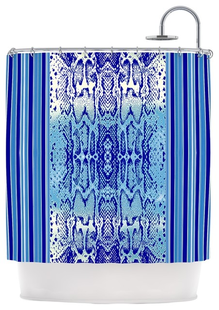 nina may delf snake blue aqua shower curtain