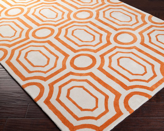 Surya - angelo:HOME Hand-tufted Orange Hudson Park Polyester Rug (8' x 10') - Hand-tufted in polyester,this rug features colors of burnt orange and ivory. Its unique design makes this rug perfect for any home. Designed by Angelo Surmelis.