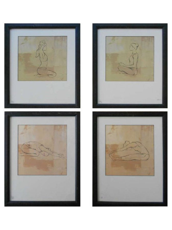 Series of 4 Framed Prints: Yoga Poses - $990 Est. Retail - $495 on Chairish.com -