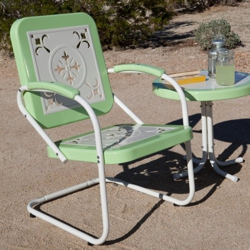 Paradise Cove Retro Metal Arm Chair Green eclectic-outdoor-chairs
