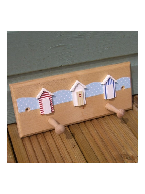 Two Shaker Peg Rail - Beach Huts - This lovely shaker peg rail is made from solid sycamore wood, with 3D MDF beach huts which have been painted and papered. They are then finished using hard coat PVA glue to bring out the finish of the wood