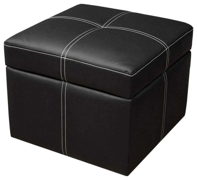 Dhp Delaney Small Square Ottoman In Black Transitional