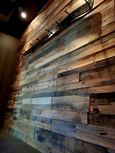 Reclaimed pallet wood paneling rustic wall panels Rustic wood walls interior