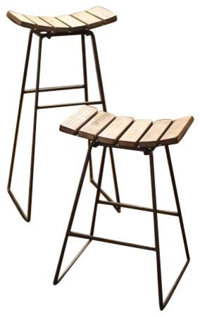 Metal Stool With Wood Slat Seat Contemporary Bar