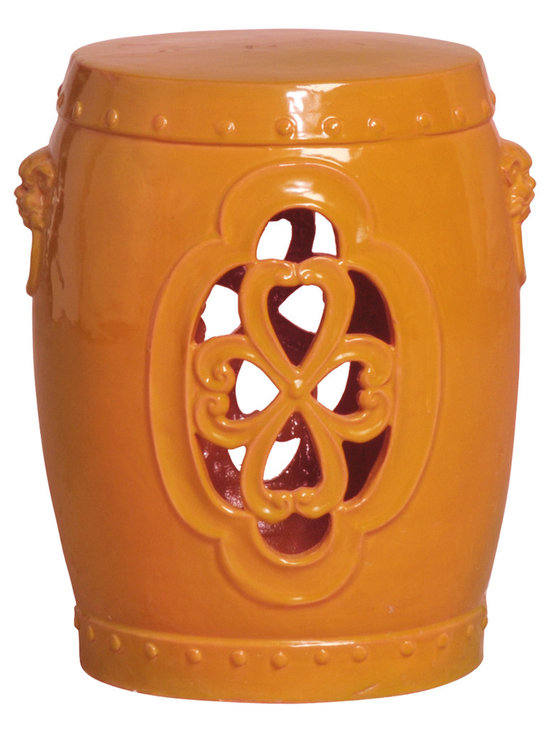Orange Clover Garden Stool - This ornate yet monochromatic garden stool lets the light flow through, creating a calming and serene element in any room or patio. Available in a bright punchy tangerine, neutral white or cheery yellow, this stool is sure to enhance any space its in.