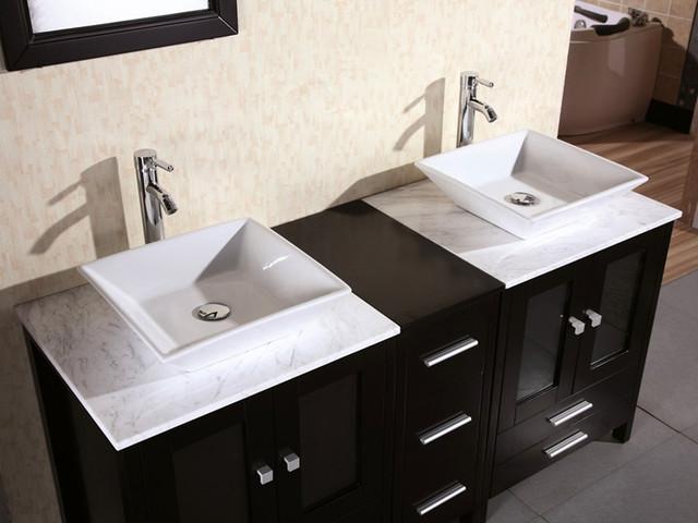 """61"""" Arlington Double Vessel Sink Vanity - Marble Top (DEC072B) modern"""