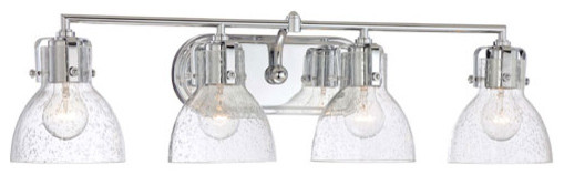 Chrome 8.5-Inch Four Light Bath Fixture with Clear Seeded Glass - Modern - Bathroom Vanity Lighting