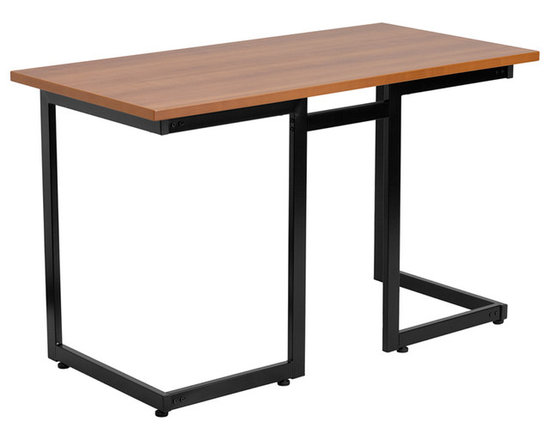 Flash Furniture - Flash Furniture Cherry Computer Desk with Black Frame - NAN-JN-2811-GG - This large surface writing desk will provide you enough space for your laptop and writing materials. The simple design of this desk allows it to easily fit into any work space. [NAN-JN-2811-GG]
